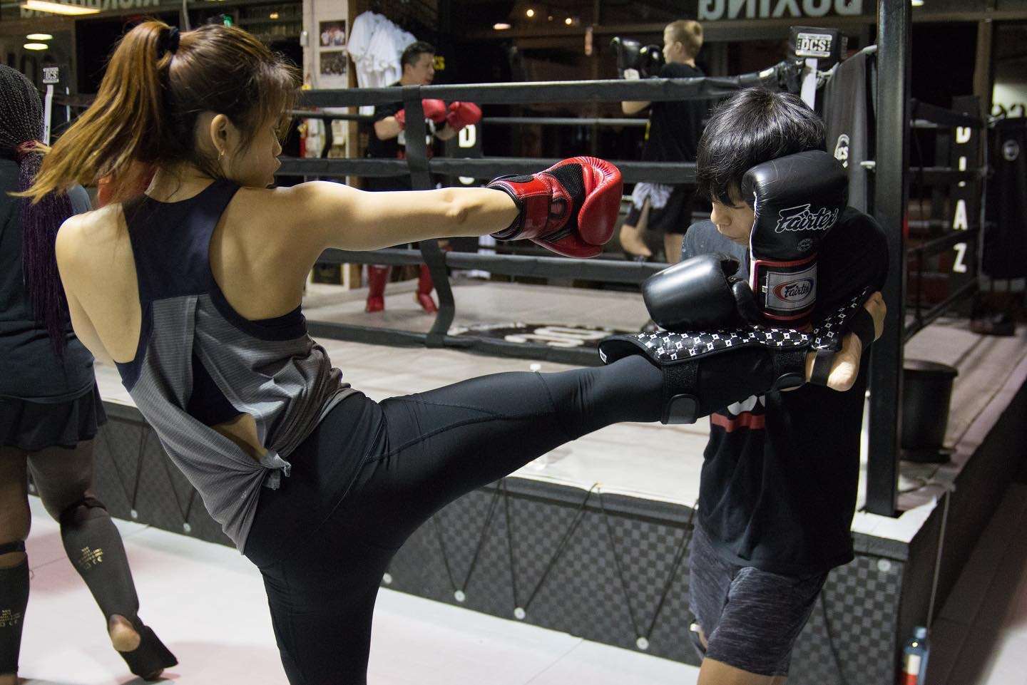 A DCS student does sparring