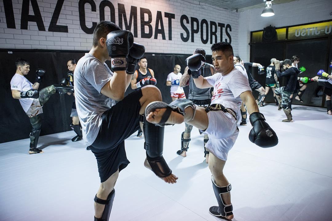 Practicing kickboxing Vancouver technique